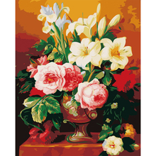 Unframed Still Life Vase Flowers Chinese Rose DIY Painting By Numbers Kit Hand Painted Acrylic Paint Canvas Art Wall Poster