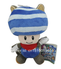 Super Mario Bros musasabi flying squirrel blue toad Plush Doll Toy 8.5""