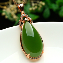 The natural and authentic Tian Biyu Pendant 925 silver inlay spinach green jade pendant drop female Jade Pendant Necklace(China)