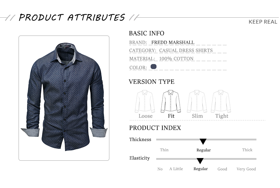 Fredd Marshall 2017 Men Polka Dot Denim Dress Shirt Long Sleeve 100% Cotton High Quality Casual Shirt Male Social Shirts 3XL 120 (2)
