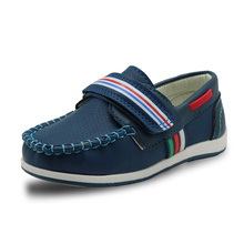 Apakowa New Kids PU Leather Shoes Boys Loafers Soft Sneakers Children Fashion Moccasins Boys Casual Boat Shoes Arch Support