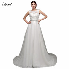 Buy Vestido De Noiva Line Wedding Dress 2017 Top Lace Scoop Beaded Sheer Back Tulle Floor Length Bride Dress Bridal Gown for $79.45 in AliExpress store