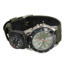 Green Dial Quartz Watch Green Canvas Strap Army Wrist Watch with Compass   LL