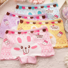 4 Piece/lot 2016 Cotton Kids Girls Underwear Cute Cartoon Kitty Bear Panties Children's Girl Boxer Pants Baby Underpants Briefs