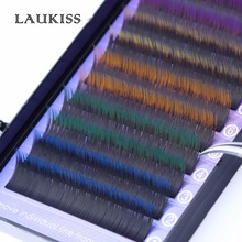 Colored Fake Lashes Cilia C Curl Colorful Eyelashes Kit Two Tone Rainbow Makeup Extension Individual Permanents augmentation