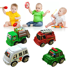 6pcs/lot Pull Back Car Toys Bus Lot Children Racing Car Baby Mini Cartoon Bus Truck for Gift Kis Baby Toy Random Color