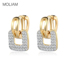 MOLIAM Fashion Design Small Huggie Hoop Earrings for Womens Cluster Paved Zirconia Crystal Stone Earing Jewelry 2016 MLE218(China)