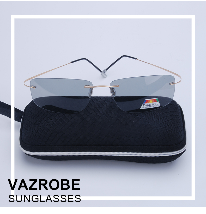 Vazrobe (5s Change Color) Photochromic Sunglasses Men Women Titanium polarized Sun Glasses Chameleon Rimless Anti-glare Driving 1