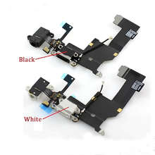 For iphone 5S USB Charging Port Dock Connector and Headphone Jack Audio Flex cable new ,free shipping black / White