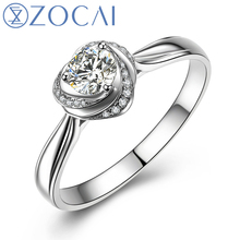 ZOCAI Natural 0.24 Ct Certified F-G/SI Center Diamond with 0.06 Ct Side Diamond 18K White Gold Engagement Women Ring W01659(China)