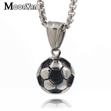 Moorvan Star Football Soccer Pendant Necklaces Mens Ball Jewelry Sporty Fashion Stainless Steel Chain Necklaces For Boys VP889(China)