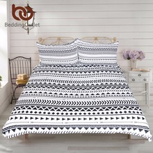 BeddingOutlet 3Pcs Black White Striped Duvet Cover Set Modern Chic Reversible Geometric Printed Bedding Set Soft Bed Cover(China)