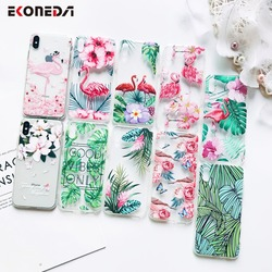 Силиконовый чехол для телефонов iPhone 5S, 6S, 7, XS Max, XR и других моделей, прозрачный, с изображениями цветов, листьев, фламинго