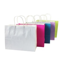 10 Pcs/lot Multifuntion Kraft Paper Bags With Handle Candy Color Recyle Shopping Package Bags Gift Bag 32*25*11cm(China)