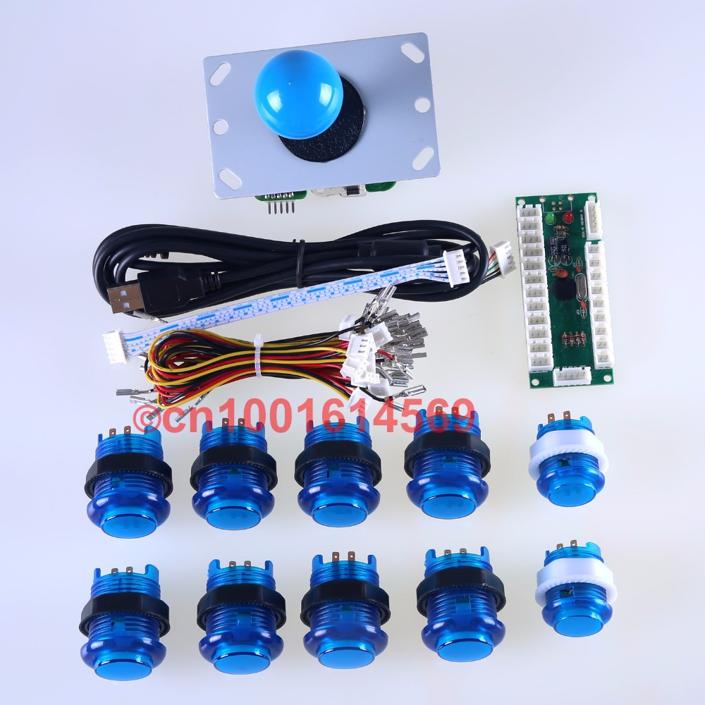 Arcade DIY Kits Parts USB Controller Handle To PC Rocker + 5 Pin Joystick + 30mm LED Illuminated Push Buttons To Arcade Sticks<br>