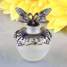 40ml Vintage Metal Butterfly Refillable Crystal Perfume Bottle Wedding Decor