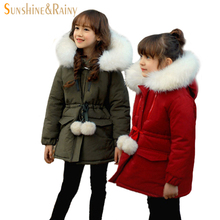 Korean Brand Girls Jackets Coats Big Collar Kids Fur Coat For Baby Girl Christmas Warm Jacket  Padded Children Winter Outerwear