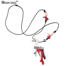 MOON GIRL Design Red Acrylic Artificial Coral Necklaces & Pendants Ethnic Style Long Necklace Women's Statement Fashion Jewelry(China)