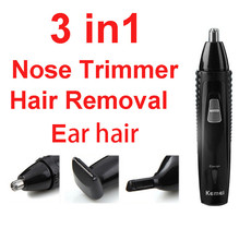 Kemei 3-in-1 Nose Trimmer Rechargeable for nose trim Electric ear cleaner Hair Removal Led Nose Hair Cutter for Temple Eyebrow