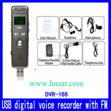 High quality rechargeable metal usb flash drive retractable voice recorder DVR-166 with FM radio function(China)