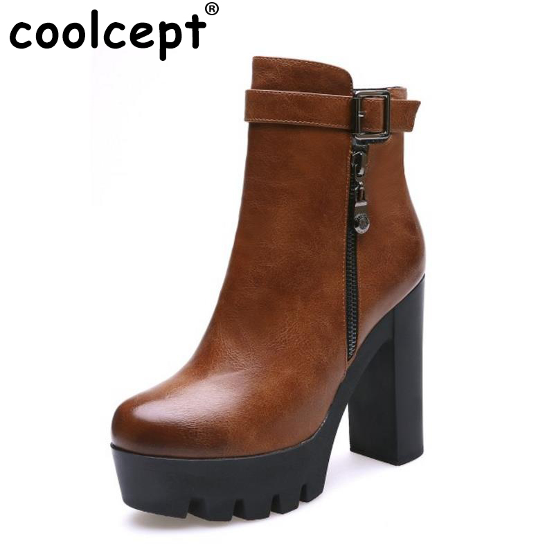 Coolcept Women Ankle High Heel Boots Zipper Buckle Platform Boots Plush Fur Shoes Winter Short Botas Women Fotowears Size 33-42<br>
