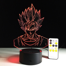 Super Saiyan people Colorful gradient 3D night light Creative remote control or touch switch night light led table lamp(China)