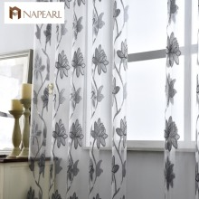Flower tulle curtains fashion window treatments white organza tulle fabrics ready made jacquard kitchen door curtains panel(China)