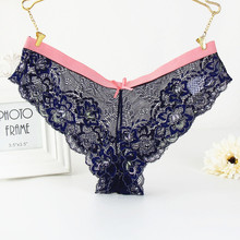 Buy KIRIA Sexy Lace Panties Women's Underwear Knickers S M L XL Transparent Lurex Gallon Lace Thongs Briefs Soft Sheer Lace Panty