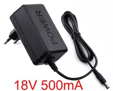 1PCS 18V 500mA High quality IC solutions  AC 100V-240V Converter Adapter DC 18V 0.5A Power Supply EU Plug 5.5mm x 2.1-2.5mm