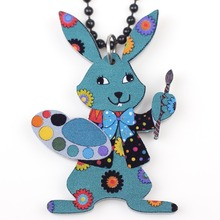 Bonsny rabbit necklace pendant acrylic 2015 news accessories spring summer cute animal design girls woman fashion jewelry(China)