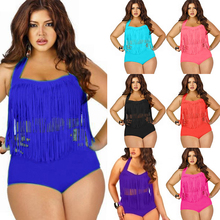Sexy Swimsuit High-Waist Plus-Size Woman Fringed Solid L-3X Tassel Fat-Increase