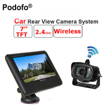 "Podofo 2.4G Wireless TFT 7"" LCD Monitor Car Rear View system With a Weatherproof 15LEDs IR Night Vision Parking Reversing Camera"