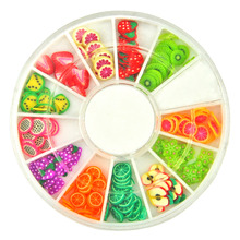 1 pc Summer Fruit Shaped Fimo Cans Slices Sticker polymer clay Wheel Nail Decoration For Nail Art Phone case Drop shipping(China)