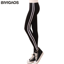 Buy BIVIGAOS Womens New Casual Leggings Side White Stripe Elastic Cotton Leggings Pants Women Clothing Fashion Legging Women for $6.99 in AliExpress store