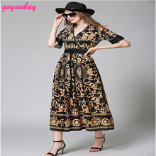 go you buy European in 2017 new product v-neck printing long dress with thin patchwork dress 9367