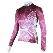 Beautiful Purple Butterfly Cycling Jersey Full Length Hidden Zipper Long Sleeve BIke Jersey for ladies(China)
