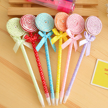 2PCS Creative Kawaii Lollipop Bowknot Ballpoint Pen Gift for Children Lovely Signature Pen Novelty Stationery School Suppliers(China)