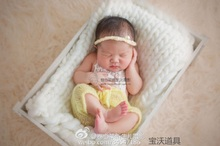 Wholesale Knitted Baby Mohair Headband and Romper Lovely Newborn Crochet Pants Photography Props(China)