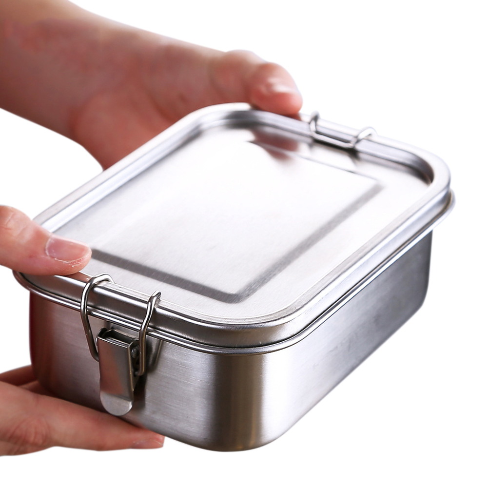 1xSingle//Double Layer Stainless Steel Picnic Lunch Box Case Bento Food Container