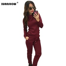 Women's Tracksuit 2017 New Autumn Female Tracksuit Sportswear O-Neck Sweatshirt + Long Pants 2 Piece Set Costumes