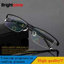 2017 Fashion High Quality Men Style Progressive Reading Glasse New Multifocal Presbyopic Half Rim Spectacles For Men Hyperopia(China)