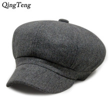 Winter Solid Color Woolen Newsboy Caps Thick Velvet Beret Hat For Men Newsboy Cap Cabbie Hats Octagonal Painter Newsboy Hats(China)