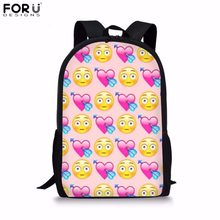 5d7534ee8068 FORUDESIGNS School Backpack for Girls Funny Emoji Face Print Primary School  Bag Children s Cartoon Book Bag 16 Inch Kids Mochila