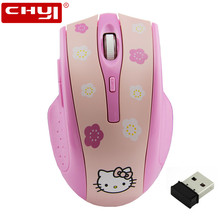 Rechargeable Wireless Mouse Hello Kitty Silence Mouse 2.4Ghz Optical Mute Mouse Built-in battery Computer Mice Mause for Girls