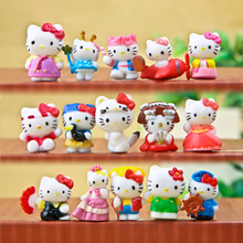 16pcs/lot 2CM Hello Kitty Action Figures Toys Lovely Anima Kitty Doll Plastic PVC Toy Gifts For Kids Girls Christmas Collection