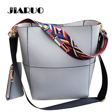 JIARUO Luxury Handbag Designer Women Large Tote Bag Bucket bag Wide Colorful Strap Shoulder bag Crossbody Messenger bag Shopper