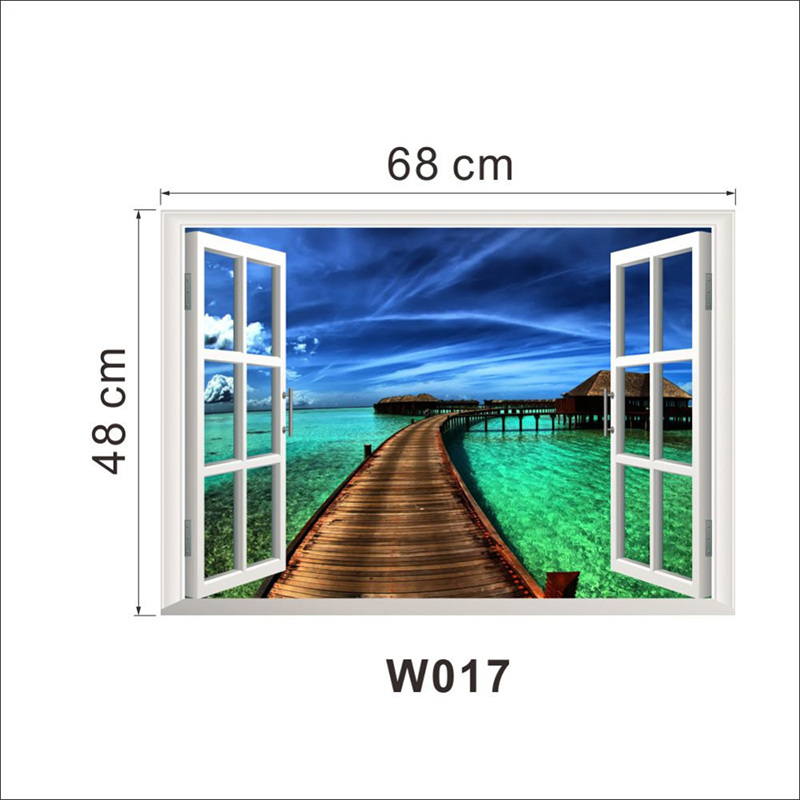 HTB1fC Ej TI8KJjSsphq6AFppXam - Natural Scenery Bridge Sea 3D Window Wall Stickers For Home Decorations View Living Room