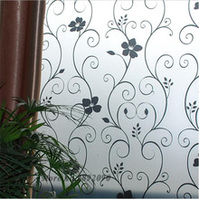 "45*100cm/17.7""*39.4"" Frosted Opaque Glass Window Film Privacy Glass Stickers Home Decor Black&white Wrought Iron Flower ST029(China)"