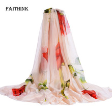 [FAITHINK] Big Size Women Fashion Chiffon Floral Scarf Shawl Femme Novelty Brief Poncho Party Gift Cape Wrap Scarves 200*150cm