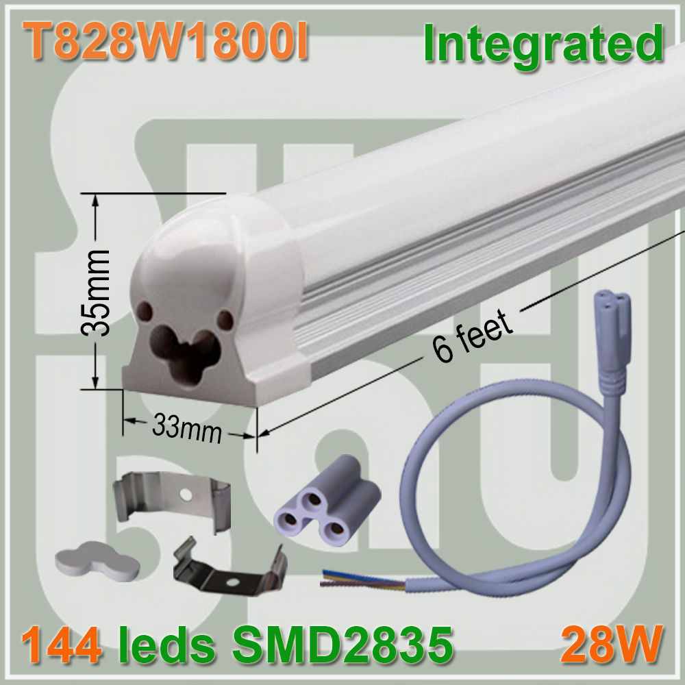 50pcs/lot free shipping LED TUBE BULB T8 integrated 1.8M 6ft 6feet 28W high lumens high quality milky clear cover available<br><br>Aliexpress